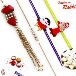Pearl Hanging and AD work Family Rakhi Set with 2 Kids Rakhis