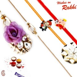 Tissue Flower and Faceted AD Family Rakhi Set with 2 Kids Rakhis