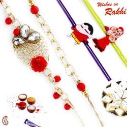 Faceted American Diamond Floral work Family Rakhi Set with 2 Kids Rakhis