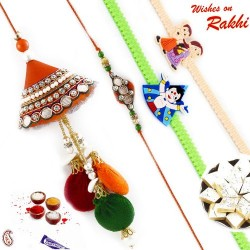 Traditional Handcrafted Zardosi work Family Rakhi Set with 2 Kids Rakhis