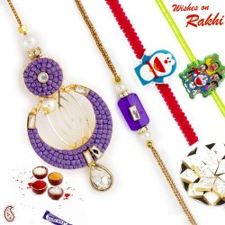Unique and Different Family Rakhi Set with 2 Kids Rakhis