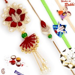 Pearl, Golden Balls and Zardosi work Family Rakhi Set with 2 Kids Rakhis