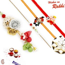 Gold and Silver Flower Family Rakhi Set with 2 Kids Rakhis