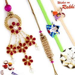 Golden Bead and Floral Hanging Family Rakhi Set with 2 Kids Rakhis
