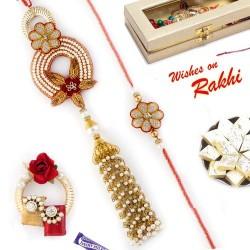 Beautiful Sparkling Beads Work Zardosi Bhaiya Bhabhi Rakhi Set