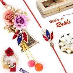 Beautiful Flower & Leaf Style Bhaiya Bhabhi Rakhi Set