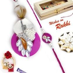 Amazingly Pretty Zardosi Work Bhaiya Bhabhi Rakhi Set