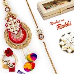 AD & Cotton Drop Beads Emellished Bhaiya Bhabhi Rakhi Set