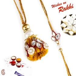 Sizzling Yellow Kundan Work Bhaiya Bhabhi Rakhi Set