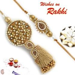 Beads and Foil work come together in this Bhaiya Bhabhi Rakhi Set