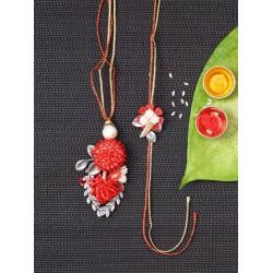 Charming Red Bhaiya Bhabhi Rakhi Set
