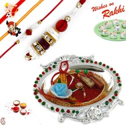 Silver Polish Meena work Rakhi Thali with Family Rakhi Set