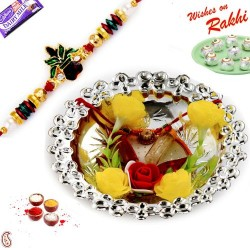 Metallic Silver Polish Rakhi Thali with Rakhis