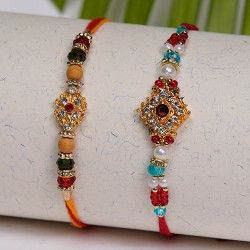 Set of 2 AD, Pearls and Beads Rakhis