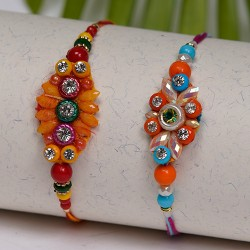Set of 2 Multicolor Beads Rakhis