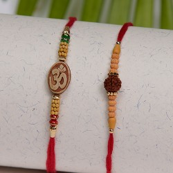 Set of 2 OM and Rudraksh with Wooden Beads Rakhis
