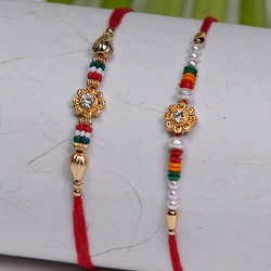 Set of 2 AD with Colorful Beads Rakhis
