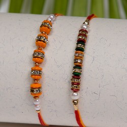 Set of 2 Colorful Beads and Crystal Rakhis