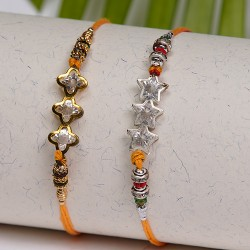 Set of 2 AD, Crystals and Beads Rakhis