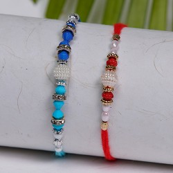 Set of 2 Multicolor Beads and Pearls Rakhis