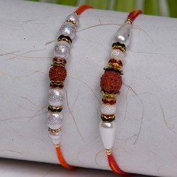 Set of 2 Rudraksh with Pearls and Stones Rakhis