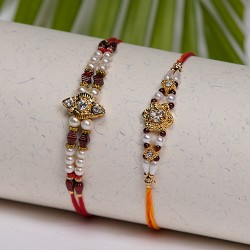 Set of 2 AD with Pearls and Beads Rakhis
