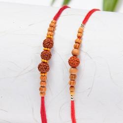 Set of 2 Rudraksh and Wooden Beads Rakhis