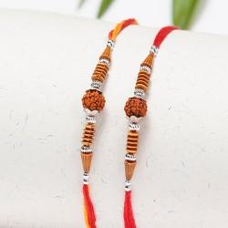 Set of 2 Rudraksh and Fancy Beads Rakhis