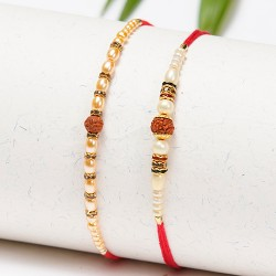 Set of 2 Rudraksh Rakhis with Pearls and Beads
