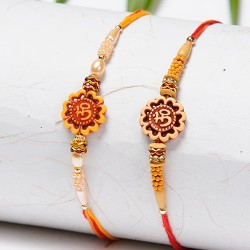 Set of 2 OM Motif Rakhis with Pearls and Beads
