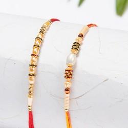 Set of 2 Pearls and Dazzling Beads Rakhis