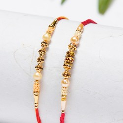 Set of 2 Golden Beads and Pearls Rakhis