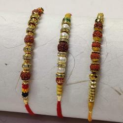 Set of 3 Rudraksh with Colorful Beads Rakhis