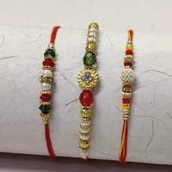 Set of 3 Pearls, Crytals with Colorful Beads Rakhis