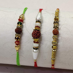 Set of 3 Rudraksh with Crystals and Beads Rakhis