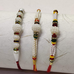 Set of 3 White Pearls with Colorful Beads Rakhis