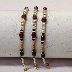 Set of 3 Rudraksh with Pearls and Beads Rakhis