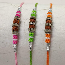 Set of 3 Rudrakhs with AD and Beads Rakhis
