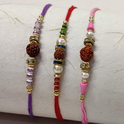 Set of 3 Rudraksh with Pearl, AD and Beads Rakhis