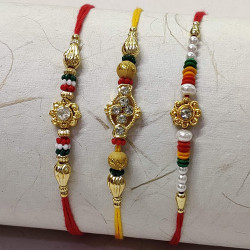Set of 3 AD and Colorful Beads Rakhis