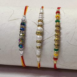 Set of 3 Pearls with Metal and Multicolor Beads Rakhis