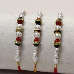Set of 3 Pearls and AD Rakhis