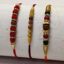 Set of 3 Rudraksh with Gota and Beads Rakhis