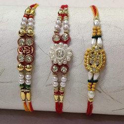 Set of 3 AD, Pearls and Beads Rakhis