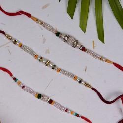 Set of 3 Pearls and Beads Rakhis