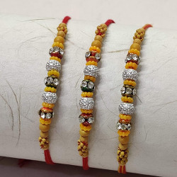 Set of 3 Stones and Wooden Beads Rakhis