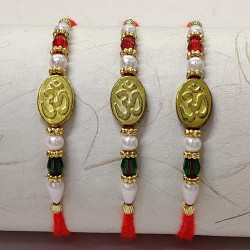 Set of 3 OM with Pearls and Beads Rakhis