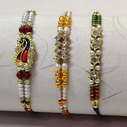 Set of 3 Meena Work Peacock with Pearls and Beads Rakhis