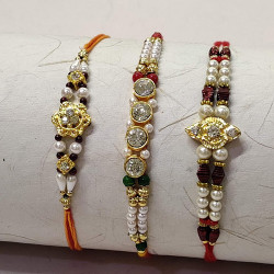 Set of 3 AD, Beads and Pearls Rakhis