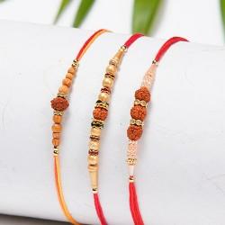 Set of 3 Rudraksh, Pearls and Beads Rakhis